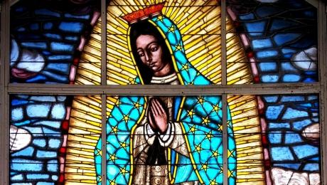 Stained Glass Window, Catholic Church in Cherokee NC